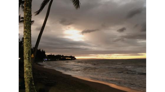 coucher de soleil après surf